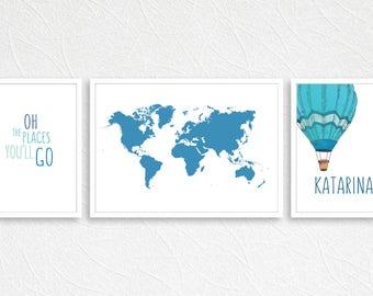 World Map Print, Hot Air Balloon Art, Printable World Map, Dr Seuss Print, Hot Air Balloon, World Map, Explorer Wall Art, Traveller Art |E27