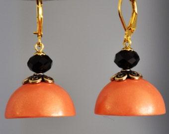 Orange black dangler earrings