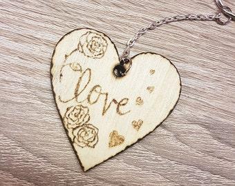 Love Keychain wood
