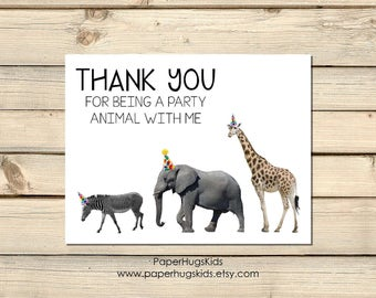 Jungle Safari stationery, Jungle Safari Note Cards, Animal Note Cards, Kids Thank You Cards, party animal Note Cards / Digital
