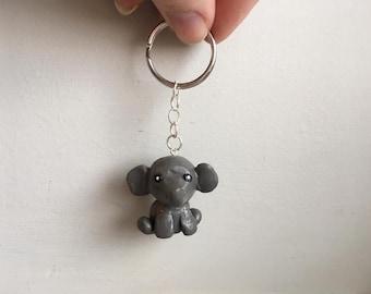 Elephant polymer clay key chain