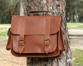 13 inch leather briefcase/ messenger bag/ shoulder bag/ laptop bag/ cognac color messenger/ brown mens bag/ mens bag/ crossbody bag/ code 80