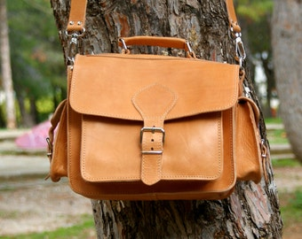 leather camera bag/ DSLR carry leather case/ camera shoulder bag/ camera leather satchel/ classic camera case in natural color/ code 90