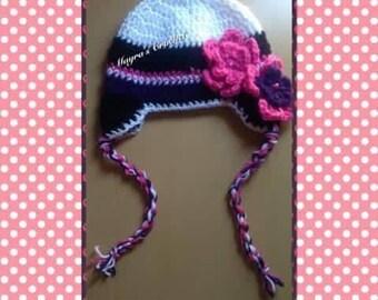 Warm Winter Hat with Flowers - Crochet