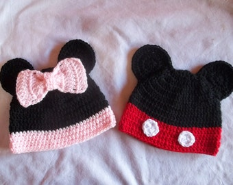 Minnie and Mickey Crochet Hat (Sold Individually)