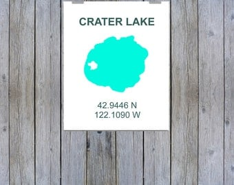 Crater Lake Coordinate Print