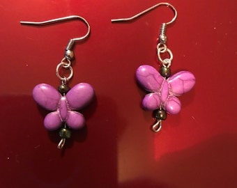handmade purple butterfly earrings