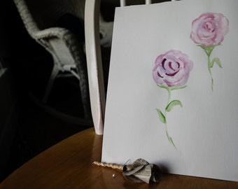 Original Dusty Roses Watercolor