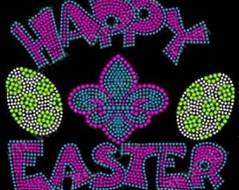 Happy Easter Rhinestone Iron on Transfer                                                    104A