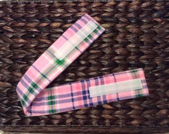 Pink Plaid Velcro Strap, Diaper Strap, Everday Strap