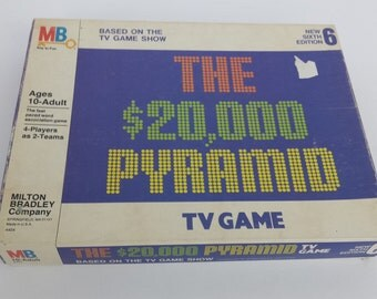 1979 The 20,000 Pyramid TV Board Game by Milton Bradley   Vintage Complete   1970s 70s   Retro Family Night