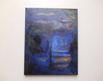 """Abstract Painting Canvas Wrapped 11 x 14 Original Blue Artist Signed US Acrylic Huffhines """"The Gloaming""""  Gallery Wrapped No Frame"""