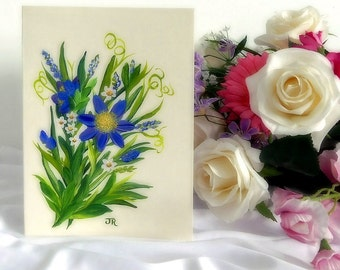 Handpainted Card - Blue Flowers3
