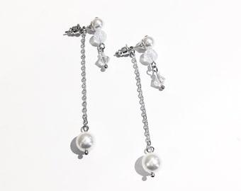 2 wear pearl drop earrings