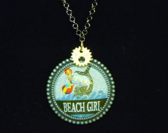 Beach Girl Necklace- glass/metal pendant, mermaid illustration, gears