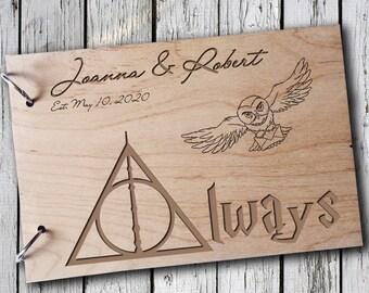Wooden Guest Book Wood Guest Book Wedding Gift Personalized Guest Book Harry Potter Guest Book Owl Guest Book  Rustik Guest Book Always