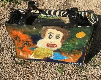 Handbag Purse hand painted by artist M Waltz