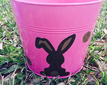 Girls Easter Rabbit Personalized Bucket Pail Basket
