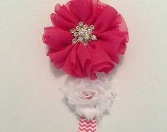 Pink and white headband with rhinestones