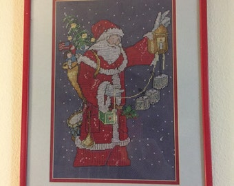 framed finished Sanat counted cross stitch