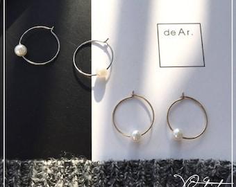 Hoop Earrings with Pearl