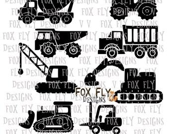Construction Trucks Tonka Digger dumptruck crane excavator cement mixer Cricut Silhouette