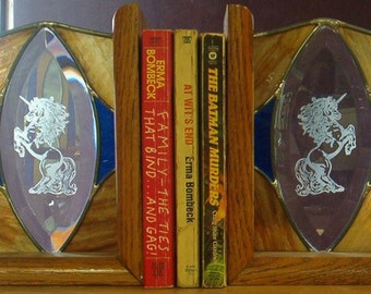 Oak Bookends Unicorn Etched Bevel Stained Glass