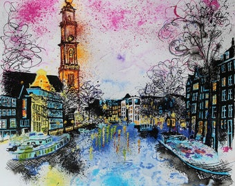 Contemporary Amsterdam Cityscape ink painting