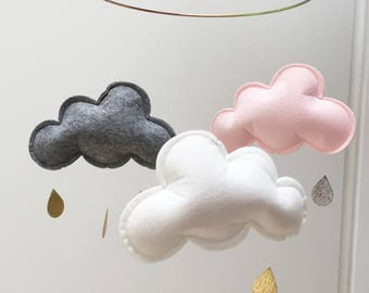Clouds Mobile pink white grey