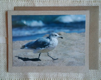 "Blank note cards. Original photography on kraft brown card stock. Set of 3. ""A Walk on the Beach""."