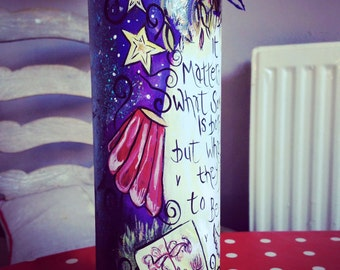 Personalised made to order Harry Potter painted empty wine bottle