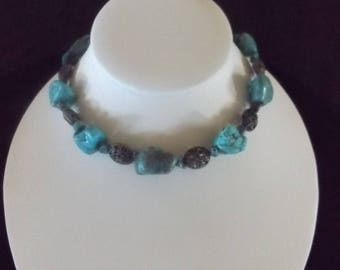 Dyed Turquoise Stone Necklace with Vintage Bead Accents