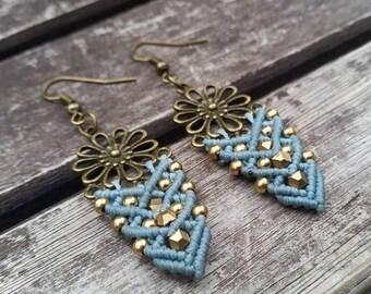 Amazing Light blue macrame earrings