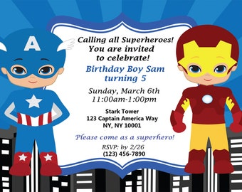 Super Hero Birthday Inviation