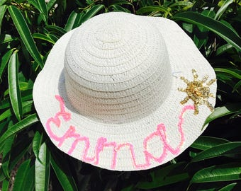 Toddler Kids Girl Name Sun Hat / Personalized Sun Hat / Floopy Hat / Beach Hat / Name Hat