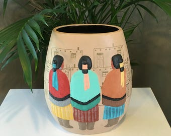 Vintage Handmade Mexican Southwest Clay Pot/Vase