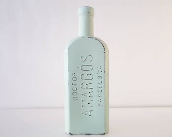 Distressed bottle, old apothecary bottle, painted bottle, bottle centerpiece, upcycled bottle, shabby chic, decorated bottle, chalk paint