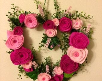 Heart Shape Felt Flowers Wreath