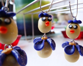 2x Cute polymer clay hanging chick decoration