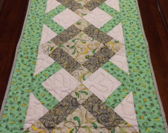 Table Runner, Quilted Table Runner, Green and Gray Table Runner, Spring Table Runner