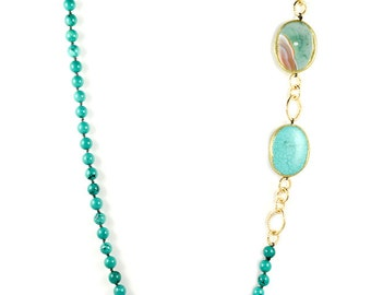 Turquoise Long Statement Necklace With Resin Trim