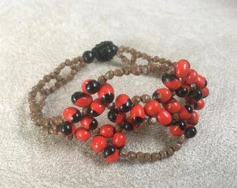 Huayruro and Orchid Seed Tribal Bracelet, Red, Black, and Brown