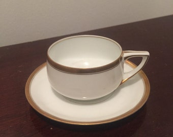 Small Rosenthal mini antique white gold cup saucer set
