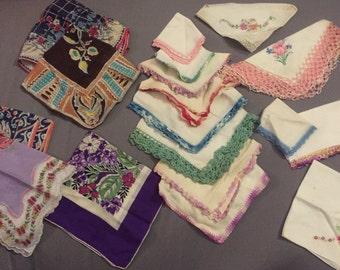 Lot of 18 Vintage handkerchiefs linen embroidered