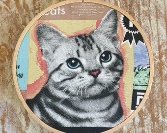 Tabby Cat embroidery hoop wall hanging
