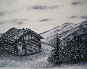 Pen Drawing Cabin in the Mountains in Black White, Drawing on White Paper with Black Ink on A4 Paper Size