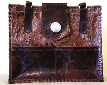 Large Handmade Western Tooled Leather Purse, Brown Floral tooling, Leather Laced, Outer Cell Pockets