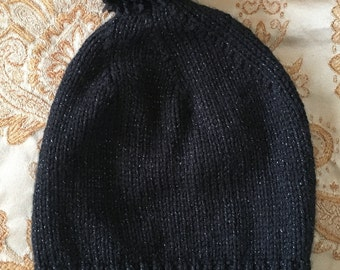 Black Metallic Hand Knitted Beanie with Pom Pom