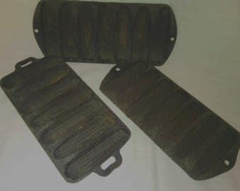 Vintage Cast Iron Corn Bread Stick Pans Set Of 3