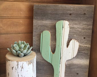 Reclaimed wood cactus